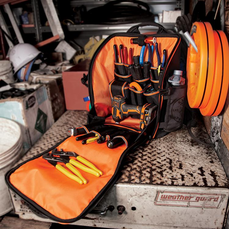 Tradesman Pro™ Tool Station Tool Bag Backpack with Worklight